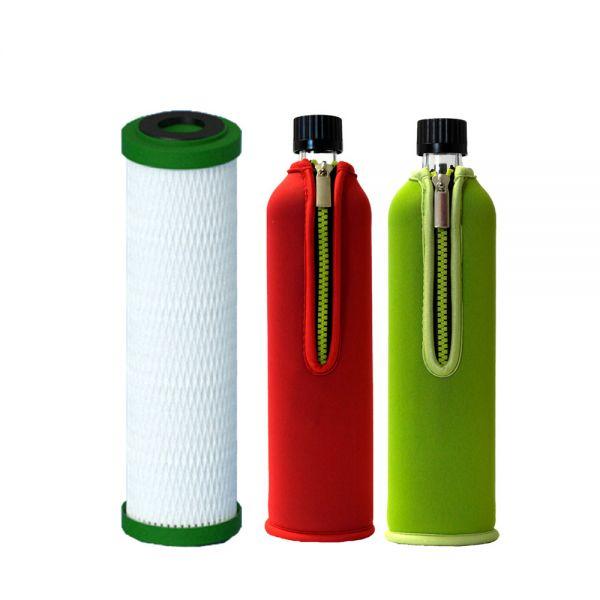 Filterpatrone NFP Premium Carbonit & 2x Dora's Glasflasche 0,5 l mit Neoprenbezügen grün & rot