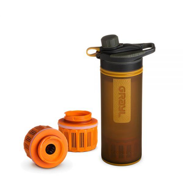 Grayl GeoPress Outdoor- und Reisewasserfilter mit 2 Ersatzfiltern - Coyote Amber