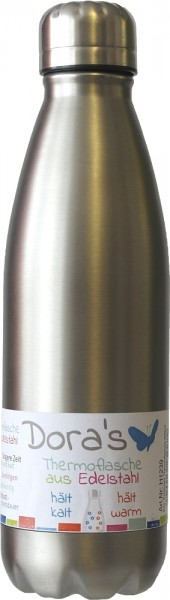 Dora's Stainless Steel Drinking & Vacuum Bottle 0,75 l different colors