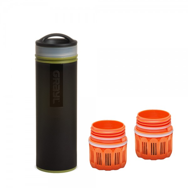 Grayl Ultralight Compact Outdoor- & Reise- Wasserfilter Camo Black mit 2 Ersatzfiltern