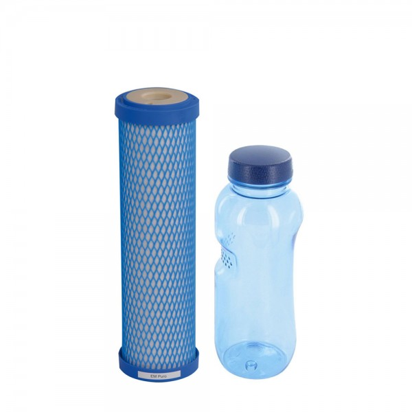 Wasserfilterpatrone EM Puro Carbonit® & Tritan Trinkflasche 0,5l BPA frei
