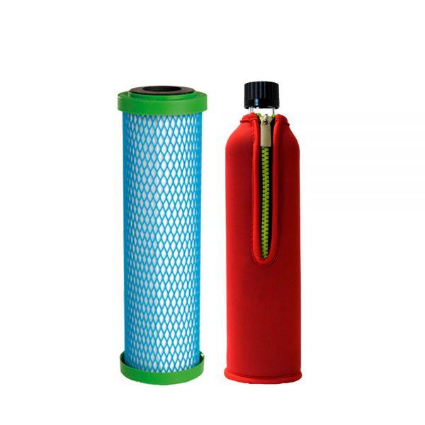 Filterpatrone EM Premium 5 Carbonit & Dora's Glastrinkflasche 0,5l mit Neoprenbezug rot