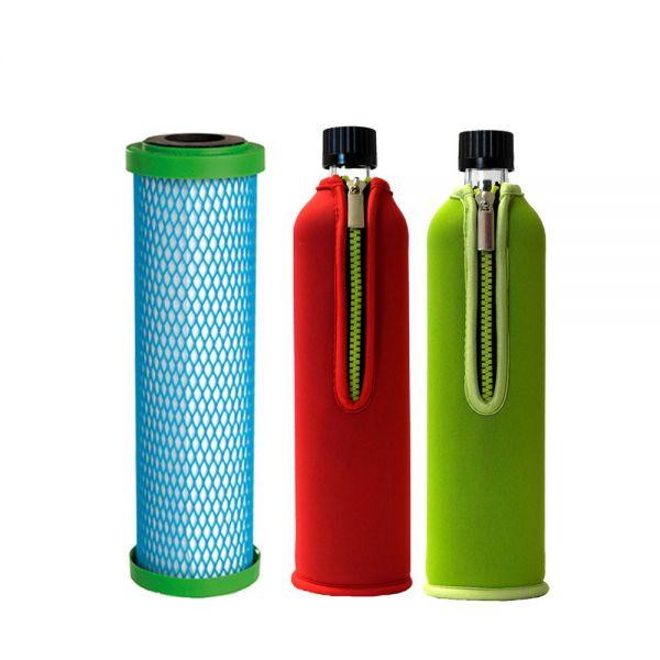 Filterpatrone EM Premium 5 Carbonit & 2x Dora's Glasflasche 0,5l mit Neoprenbezügen rot & grün