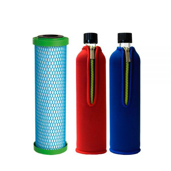 Filterpatrone EM Premium 5 Carbonit & 2x Dora's Glasflasche 0,5l mit Neoprenbezügen blau & rot