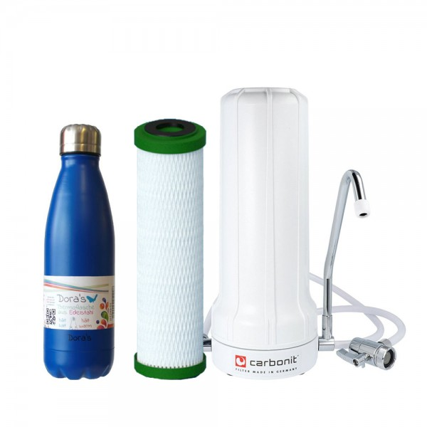 Wasserfilter Sanuno Classic Carbonit & NFP Premium & Dora's Edelstahlflasche 0,5l dunkelblau