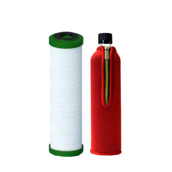 Filterpatrone NFP Premium Carbonit & Dora's Glasflasche 0,5 l mit Neoprenbezug rot