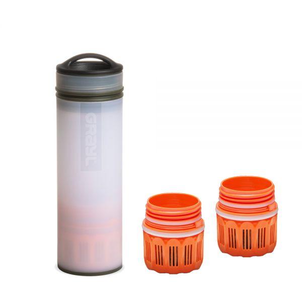 Grayl Ultralight Compact Outdoor- & Reise- Wasserfilter Alpine White mit 2 Ersatzfiltern