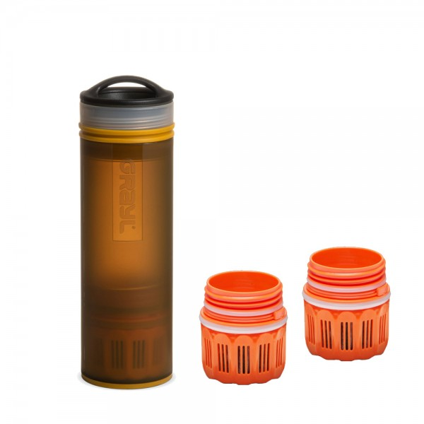 Grayl Ultralight Compact Outdoor- & Reise- Wasserfilter Coyote Amber mit 2 Ersatzfiltern