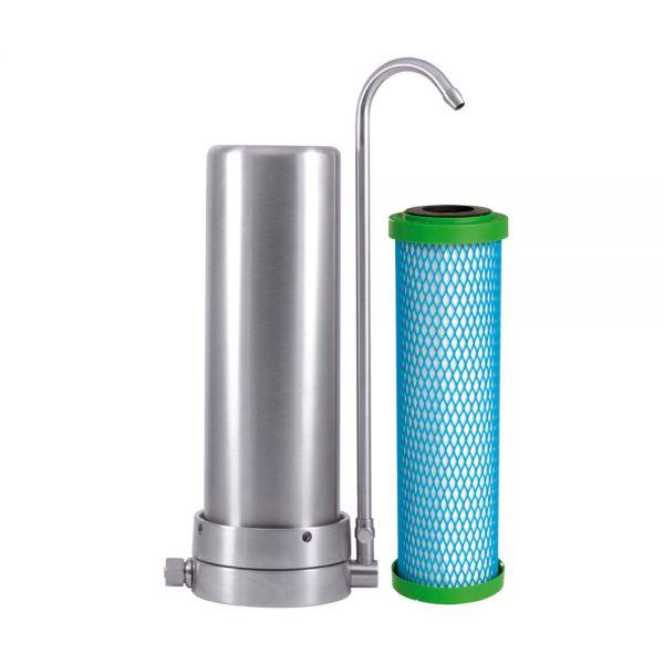 AquaAvanti Mercuro Edelstahl-Auftischfiltergehäuse incl. Carbonit Filterpatrone EM Premium 5