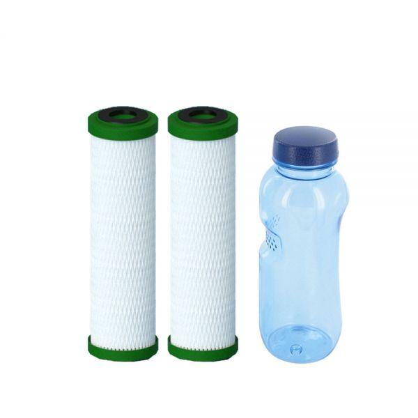 2x Filterpatrone NFP Premium Carbonit & Tritan Trinkflasche 0,5l BPA frei