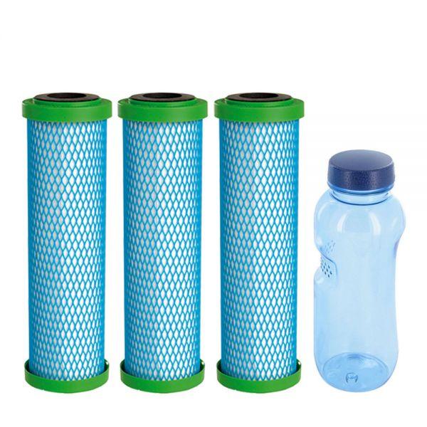 3x Filterpatrone EM Premium 5 Carbonit & Tritan Trinkflasche 0,5l
